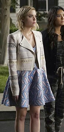 Hanna's blue and pink patterned dress and embroidered moto jacket on Pretty Little Liars.  Outfit Details: http://wornontv.net/49763/ #PLL