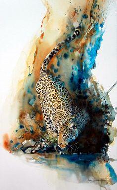 The Leopard .. Watercolor painting by Karen Laurence-Rowe / Uganda - Kenya http://www.karenlaurence-rowe.com/