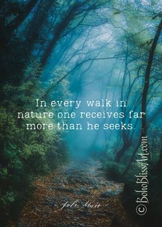 John Muir Quote: In every walk with nature one receives far | Etsy