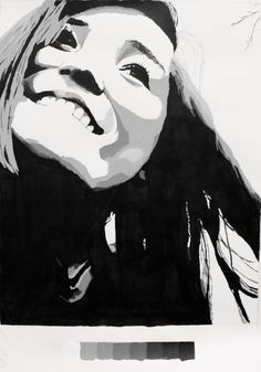 High contrast self-portrait paintings...great way to start the semester with level II 2D students.: