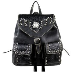 Pre-owned Montana West Vegan Leather Stud Accent Backpack (565 RON) ❤ liked on Polyvore featuring bags, backpacks, black, black studded backpack, black floral backpack, black faux leather backpack, black rucksack and pocket backpack
