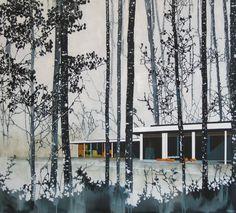 Paul Davies- snow aspens + modern home - acrylic on canvas (137 x 153cm)