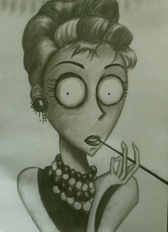 Tim Burtonized Audrey Hepburn. I will draw this for you @Cydney Marie Marie Marie Marie Potter Wheeless