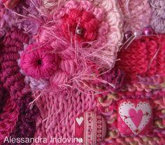 """Freeform crochet.   Particolare del quadro """"Amore"""""""