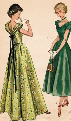 Vintage 1949 Simplicity 2864 Sewing Pattern Teen One-Piece Dress in Daytime and Evening Lengths Size 14 Bust 32
