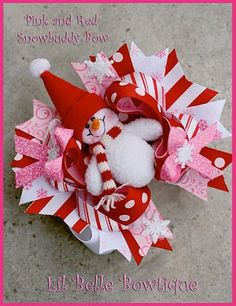 Lil Belle Bowtique- Boutique Girls Hair Bows and Accessories: Christmas Snowbuddy Bow