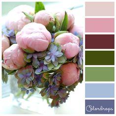 Color palette Pink blue bouquet http://colordrops.weebly.com/blog/pnk-blue-bouquet