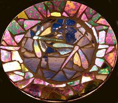 Glass mosaic plate.
