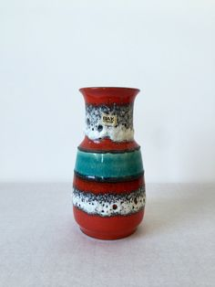 Vintage Vase, Vase Bay, Fat Lava, Vase Mid Century, deutsche Keramik, Made in…