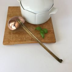 Copper and Brass Ladle, Vintage Soup Ladle, Copper on Tin Dipper, Long Handle Spoon, French Kitchen Decor, Modern Farmhouse by AlegriaCollection on Etsy