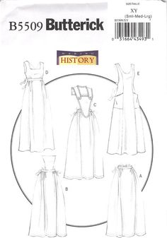 Package includes patterns and instructions for aprons A, B, C, D, E. A: Half apron. B: Attached bib. C: Collar and bib with purchased eyelet ruffling. D: Gathers and back/waist ties. E: Pockets, back