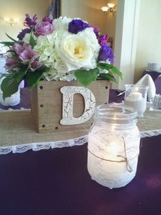 Rustic reception ceterpieces, wooden crate, mason jar covered in lace for candle holders.