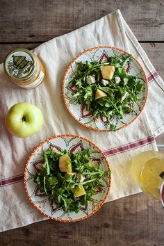 Try this simple Summer Salad with Arugula + Apple, Honey and Fig Goat Cheese