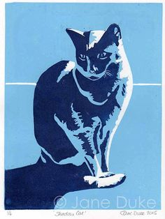 Shadow Cat Linocut Print  This handprinted relief print in two shades of blue depicts my lovely grey cat sitting in a shaft of sunlight.  This is