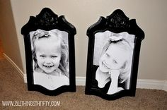 A brilliant use for a rickety vintage chair. Pull off the back, rip out the middle, then gussy it up with sandpaper and paint for a unique (no glass) picture frame.