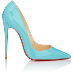 Christian Louboutin Women's Patent So Kate Pumps ($675) ❤ liked on Polyvore featuring shoes, pumps, heels, louboutin, blue, christian louboutin pumps, slip-on shoes, blue high heel pumps, blue pumps and patent leather shoes