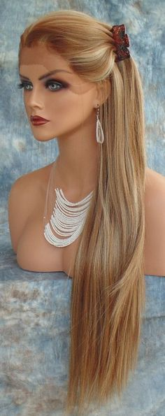 LONG STRAIGHT HEAT SAFE LACE FRONT WIG FS8.27.613 *STUNNING ALLURING US SELL 268 in Health & Beauty, Hair Care & Styling, Hair Extensions & Wigs | eBay