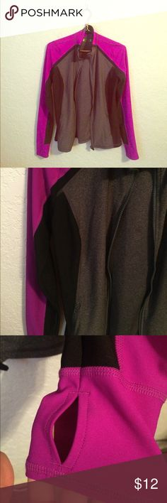 Purple grey and black zip up sports jacket Has holes to insert thumb. Very good Condition! Jackets & Coats