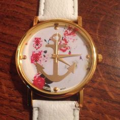 New Roses & Gold ANCHOR White Band Buckle Watch #Fashion