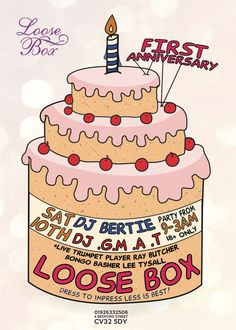 Loose box first birthday flyer Birthday Flyer, Bedford Street, Trumpet Players, Charlie Brown, First Birthdays, Graphic Design, Box, Party, One Year Birthday