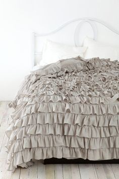 Waterfall Ruffle Duvet Cover- Urban Outfitters I want this for my room! Dream Bedroom, Home Bedroom, Master Bedroom, Bedroom Decor, Bedrooms, Ruffle Bedspread, Ruffle Blanket, Grey Comforter, Furniture