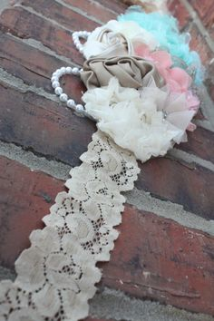 Stunning cream aqua and coral maternity sash/lace by bowsbands