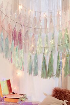 Studio Mucci Unicorn Snow Tassel Garland / Magic happens wherever you hang this string of iridescent tassels, by our favorite party décor unicorns at Studio Mucci. Move the tassels along the garland to determine the overall fullness + look! Unicorn Birthday, Unicorn Party, Unicorn Land, Mermaid Birthday, 16th Birthday, Tassel Garland, Tassels, Garlands, Party Garland