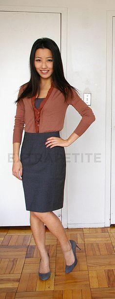 styling: cardigan + pencil skirt.