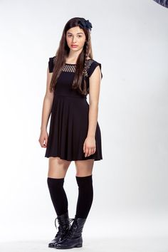 Skater Dress with Netting Yoke