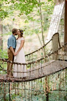 This magical treehouse in the forest was a fairytale setting for this couples romantic elopement.