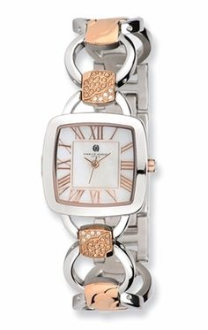 Rose Stainless Steel Watch with Square Mother of Pearl Face
