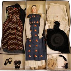 """18"""" Antique 1840's German Paper Mache Lady Doll Wardrobe, Shoes with from turnofthecenturyantiques on Ruby Lane"""