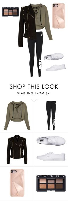 """""""Noemimakeuptouch love"""" by lilyyeah ❤ liked on Polyvore featuring NIKE, Balmain, Vans, Rebecca Minkoff and NARS Cosmetics"""