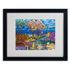 House By the Beach by Manor Shadian Matted Framed Painting Print