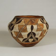"#adobegallery #AcomaPuebloPottery #SouthwestIndianPottery - Acoma Pueblo Polychrome Used Water Jar. Category: #Historic Origin: #AcomaPueblo Medium: clay, pigment Size: 6-3/4"" height x 9-3/8"" diameter Item # C3819A"