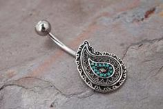 Paisley Turqouise Belly Button Ring
