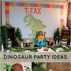 "This boy's dinosaur birthday party is outstanding! Little Jaxon loves to play dinosaur—in fact since one of his first words was ""roar"" he earned the nickname of ""T-Jax"". Mom Kelli, of KLM events, knew her theme idea of ""dinosaur"" would definitely work for Jaxon's second birthday party. Dinosaur..."