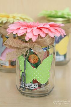 Juliana here with you today to share a spring themed project using the new SRM Stickers Patterned Vinyl. Patterned Vinyl, Mason Jars, Stickers, Table Decorations, Spring, Projects, Log Projects, Mason Jar, Sticker