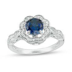 Zales Oval Lab-Created Blue Sapphire Split Shank Ring in 10K White Gold 3cfnC