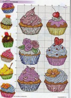 Cozinha: Cupcakes Deliciosos em Ponto Cruz