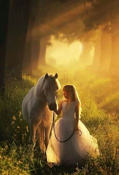 A girl and her horse love animals girl outdoors nature fantasy woods dream horse