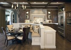 Intimate kitchen seating with counter space
