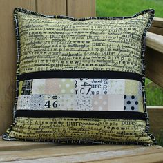Pieced and Quilted Throw Pillow  12 Square by quiltygirl on Etsy, $50.00