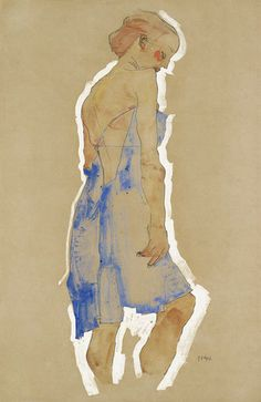 Standing Girl in Blue Dress, Egon Schiele 1911