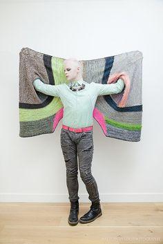 funky wrap shawl design for avant garde scandi minimalist chic fashion lovers Ravelry: Marled Madness pattern by Stephen West