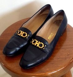 SALVATORE FERRAGAMO SHOES ~ Women's Navy Leather Low Heeled Slides ~ Sz 8.5 AA #SalvatoreFerragamo #Slides