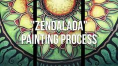How to paint a Mandala Painting Process Acrylic Painting Triptych Proces...