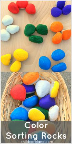 Color Sorting Rocks ... easy and inexpensive to make. Loved this activity for our outdoor center.