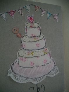 Wedding Card Handmade Machine Embroidered by SewSweetbySuzanne, £5.95