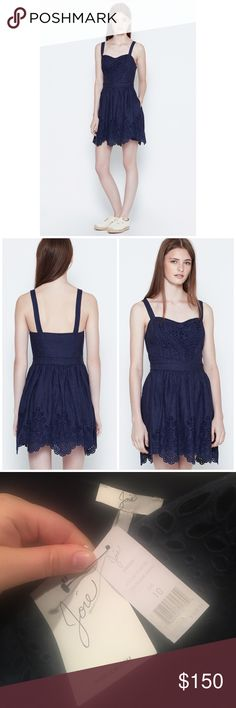 "Joie Navy Blue Ornana Embroidered Eyelet Dress A charming joie linen dress with feminine eyelet detail detailing along the apron bodice and scalloped hem. Lattice trim at straps. On-seam hip pockets. Hidden size zip. Lined. Shell 100% linen. Lining 100% cotton. Length from top of strap 37-39.5"". Bust 19"" across. Waist 16"" across. Offers welcome through offer tab. No trades. 10413171121 Joie Dresses Mini"